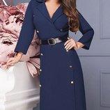 Красивое Платье миди креп-костюмная ткань скл.1 арт.46796