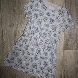 Платье сарафан летнее нежно серое цветы f&f 7-8 лет, рост 122-128 см.