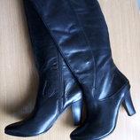 Кожаные сапоги 40 р. 26 см. Tamaris, деми, удобный каблук, немецкое качество