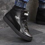 Puma Suede ботинки зимние мужские кожа черные 6619