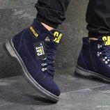 Caterpillar ботинки мужские зимние кожа синие 6620