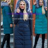 44-58. Теплая куртка удлиненная. большие размеры. Женский пуховик, Зимняя женская куртка с мехом.