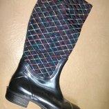 Утепленные резиновые сапоги 37-40 р. женские гумові, чоботи, непромокаемые, зимние, деми, флисе