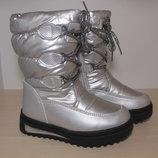 Зимние дутики на девочку Apawwa польша арт.191 р.26-31 серебро дівчинку зимові ботинки сапоги