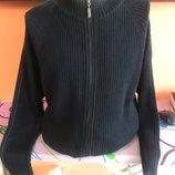 Мужской свитер на молнии пуловер джемпер Sabri Ozel Турция Хл черный