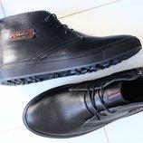 Зимние мужские ботинки нубук и кожа