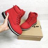 Timberland ботинки женские зимние красные 6628