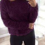 Цена 459грн снижена Марсаловый пушистый свитер ангора травка марсала