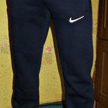 Спортивные теплые штаны Nike мужские прямые синие. Зима.