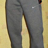 Спортивные теплые штаны Nike мужские прямые темно-серые Зима.