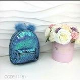 голубой рюкзак в пайетку с меховыми ушками