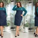 Платье Ткань креп костюмный, джинс длина изделия 106, длина рукава 60