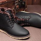 Стильные матовые зимние мужские деловые ботинки В Наличии
