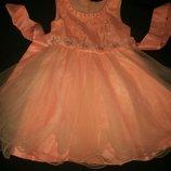 Персиковое платье на 2года