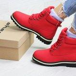 Зимние женские ботинки Timberland red