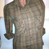 Рубашка Zara EUR L хлопок металлические заклёпки