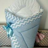 Конверт- одеяло зимнее на выписку новорожденного, плед в кроватку, коляску,санки. На липучке