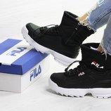Зимние женские ботинки Fila black 6641