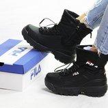 Зимние женские ботинки Fila black 6639