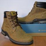 Зимние мужские ботинки Cat из натуральной кожи.