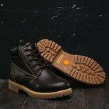 Ботинки зимние кожаные Clarks brown
