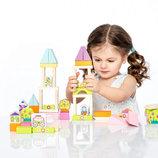Деревянный Конструктор 54 детали Городок для девочек Cubika 13906 кубика Левеня