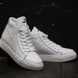 Зимние женские ботинки Puma white, натуральная кожа