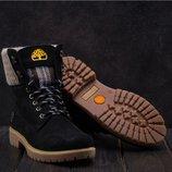 Зимние женские ботинки нубук Timberland black