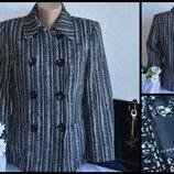 Брендовое черно-белое демисезонное пальто полупальто с карманами florence fred акрил