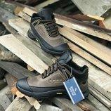 Коричневые кожаные зимние мужские ботинки Ecco Biom