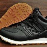 Мужские кожаные зимние кроссовки ботинки New Balance 574 топ качество. Мех натуральный