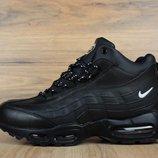 Черные кожаные мужские зимние ботинки кроссовки Nike Air Max 95. Топ качество