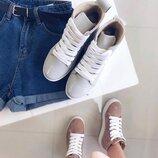 Акция Кожаные женские демисезонные высокие кеды / ботинки / хайтопы Размеры 36,37,38,39,40,41