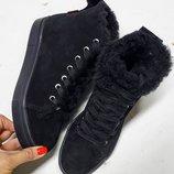Акция Кожаные женские зимние и демисезонные кеды / ботинки.Размеры 36,37,38,39,40,41