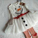 Красивое платье снеговичка и колготы, 1-3 г, как новое.