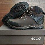Мужские зимние ботинки кроссовки Ecco в коричневом цвете