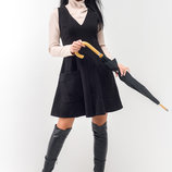 Трендовое черное платье-сарафан Брунэ