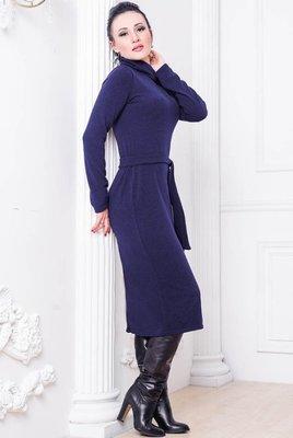 Теплое шерстяное платье Прага до 60 р. темно-синее