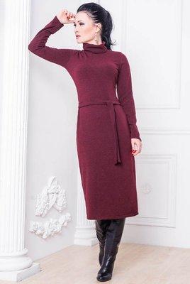Теплое шерстяное платье Прага до 60 р. бордо/марсала