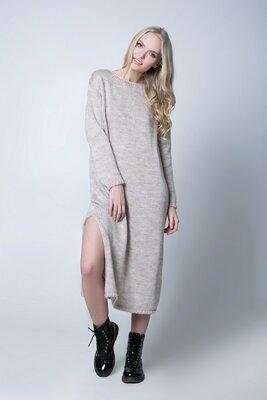 9726918c10a 42-48 Платье длинное вязаное. ажурная спинка. Теплое