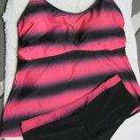 Бомбезный купальник платье портупея на спине майка шорты большой 4хл 54