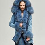Парка натуральный мех песца Бесплатная доставка mnv-65 джинс голубой джинсовая зимняя куртка
