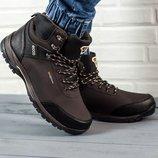 Коричневые мужские зимние ботинки кроссовки Ecco