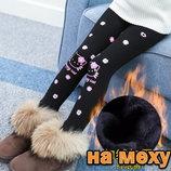 Лосины на меху с Hello Kitty с цветами, р. 85-140см