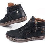 Мужские кожаные зимние ботинки Belvas Shoes Black