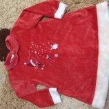 Новогоднее велюровое платье для девочки 96-92р.