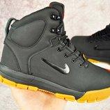 Зимние ботинки мужские NIKE AIR NEVIST 6 черные на коричневый подошве и черные 41-46р