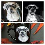 Портрет любимца 3д.Чашка с собакой.Кружка с собакой.Отличный подарок Кружка с полимерной глиной.