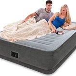 Двухспальная надувная флокированная кровать Intex 64414 серая, со встроенным насосом 220V, 203 х 152