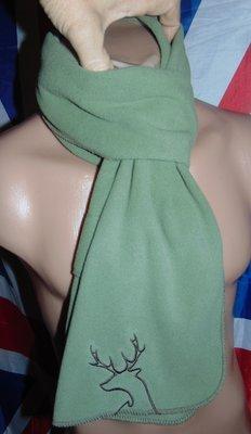Стильний фирменний флисовий шарф хаки олень .